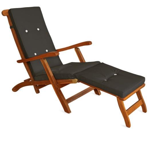 Deckchair Liegestuhl inklusive Auflage anthrazit